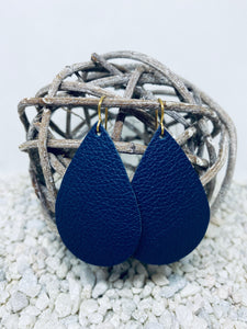 Large Navy Blue Leather Teardrop