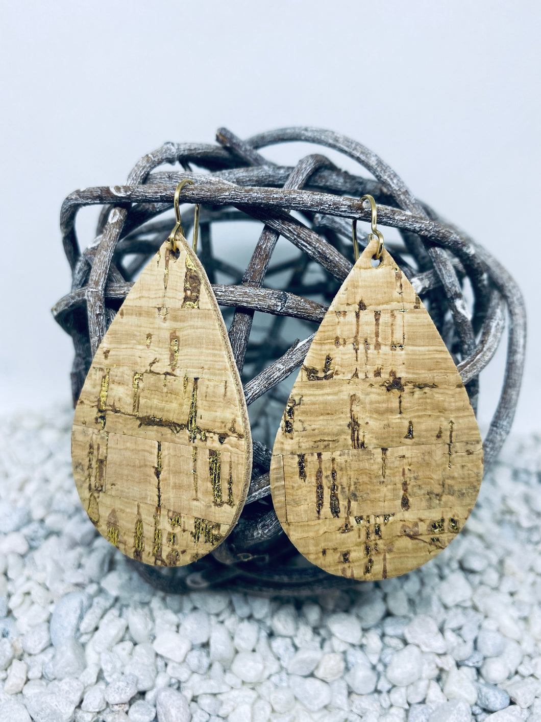 Large Cork Gold Fleck Teardrop