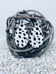 Small Cork Black and White Cheetah Teardrop