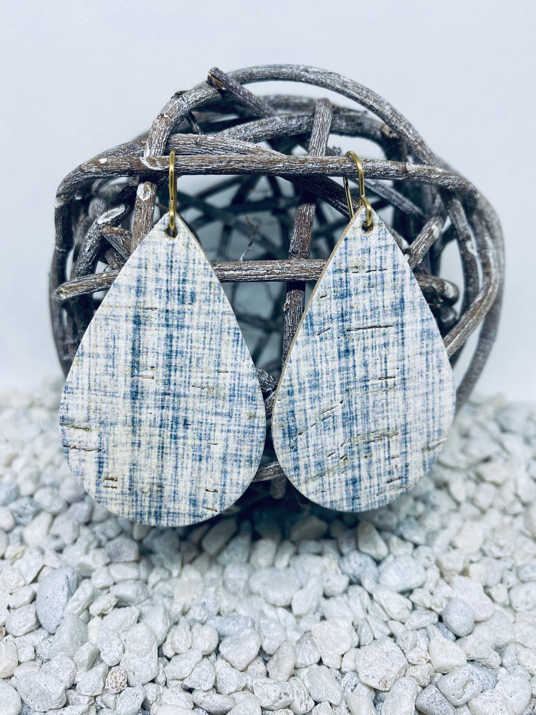 Large Cork Blue White Linen Teardrop