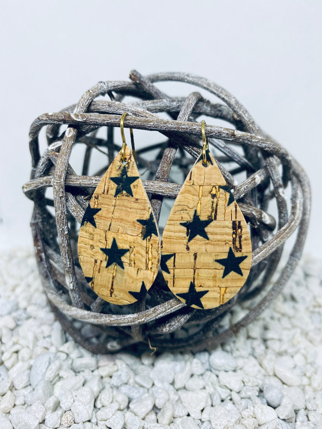 Small Cork Black Stars Teardrop