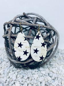 Small Cork White Black Stars Teardrop