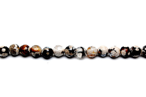 Fire Agate Faceted Round (Smoky and White) Beads