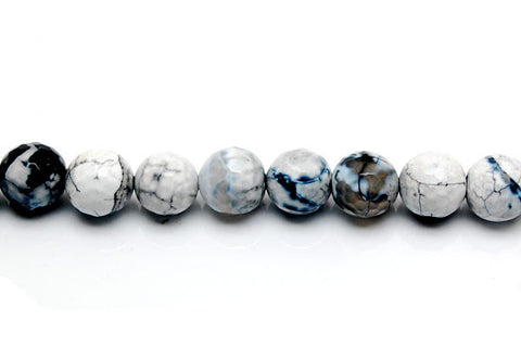 Fire Agate Faceted Round (Black and White) Beads