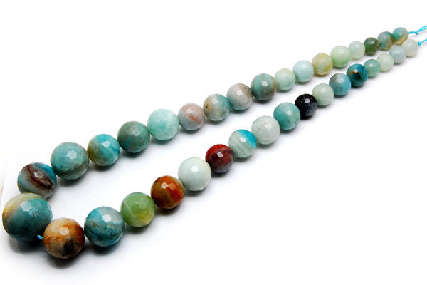 Amazonite (Zebra) Graduated Faceted Round Beads