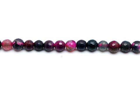 Agate (Purple) Faceted Round Beads