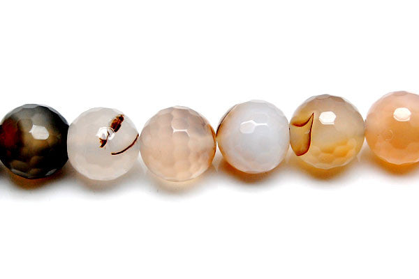 Agate (Natural) Faceted Round Beads