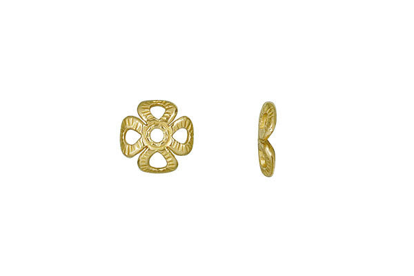 Brass Four Leaf Clover Square Bead Cap, 8.0mm