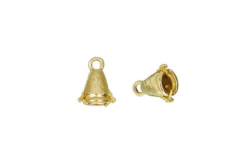 Brass Hammered Bell Pinch Bail, 10.0x5.5mm