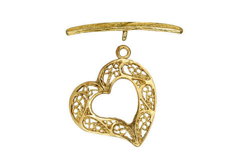 Brass Heart Filigree Toggle Clasp, 22.5mm
