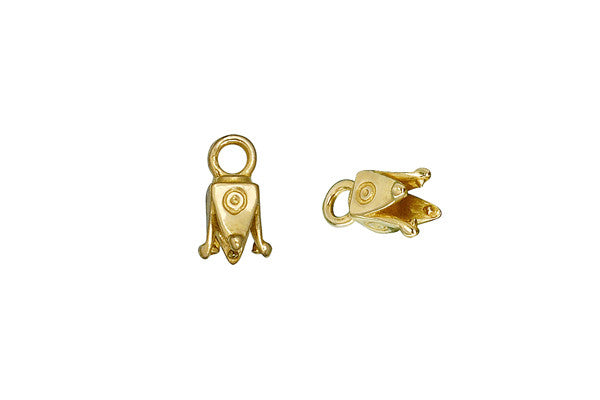 Brass Square Pronged Cord Ends, 10.5x4.5mm