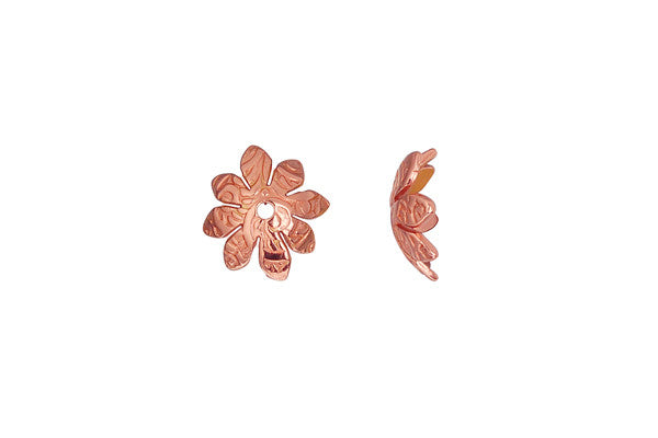 Copper Print Flower Bead Cap, 9.5mm
