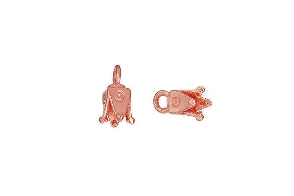 Copper Square Pronged Cord Ends, 10.5x4.5mm