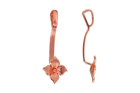 Copper Tropical Flower Stone Holder, 42.0x15.0mm
