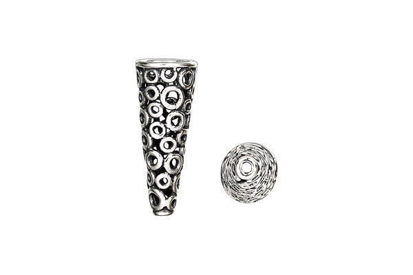 Sterling Silver Circle Lattice Cone, 24.0x7.0mm