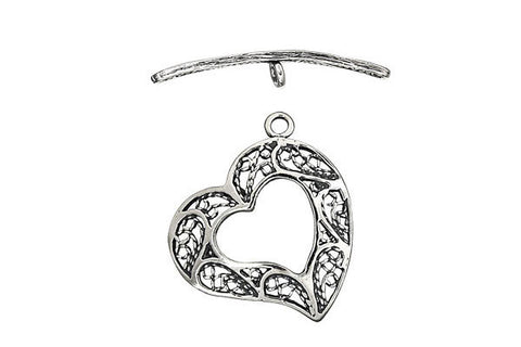 Sterling Silver Heart Filigree Toggle Clasp, 22.5mm