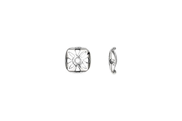 Sterling Silver Open Flower Square Bead Cap, 9.0mm