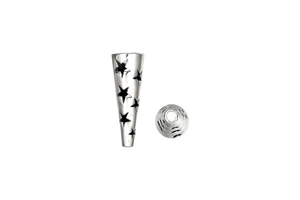 Sterling Silver Stars Cone, 19.0x6.0mm