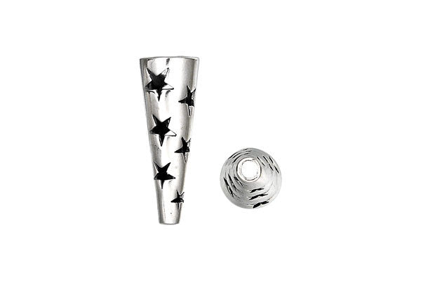 Sterling Silver Stars Cone, 24.0x8.5mm