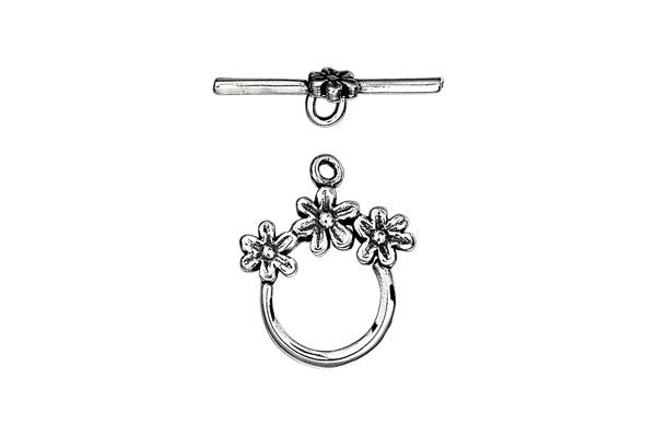 Sterling Silver Three Flower Toggle Clasp, 21.0mm
