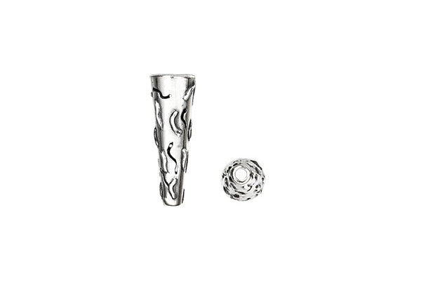Sterling Silver Wavy Lines Cone, 20.0x7.0mm