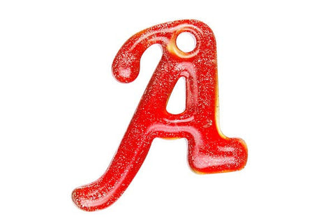 Pendant Murano Foil Glass Alphabet A (Red)