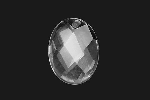 Pendant Rock Crystal (A) Faceted Flat Oval