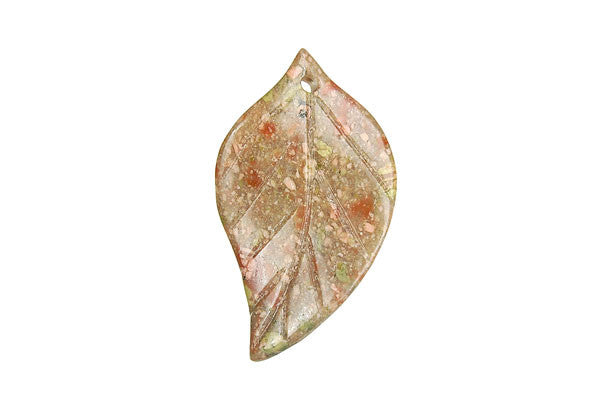 Pendant Unakite Twisted Leaf