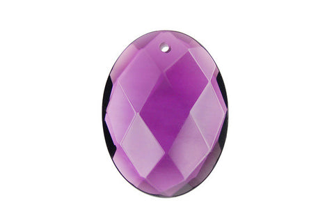 Pendant Amethyst Quartz Faceted Flat Oval