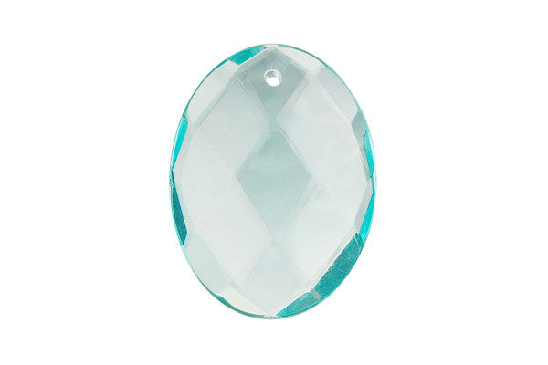 Pendant Aqua Quartz Faceted Flat Oval