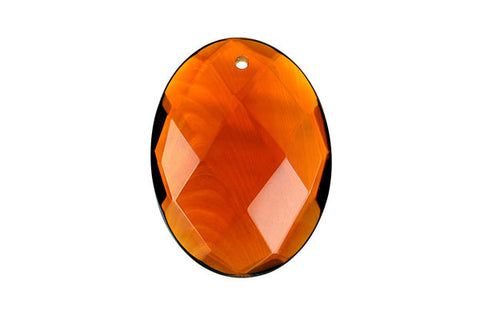 Pendant Amber Quartz Faceted Flat Oval