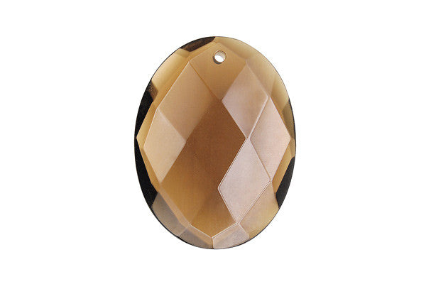 Pendant Smoky Quartz Faceted Flat Oval