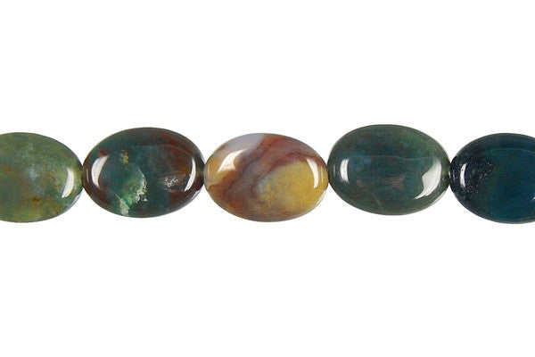 Fancy Jasper Flat Oval Beads