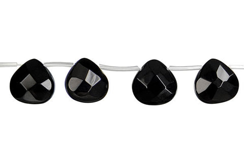 Black Onyx (AAA) Faceted Flat Heart Briolette Beads