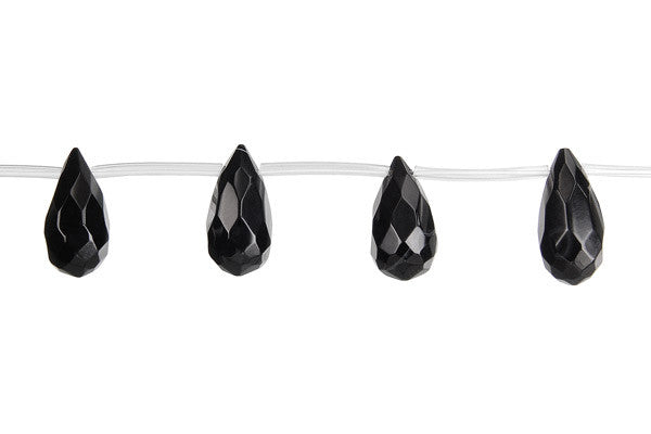 Black Onyx (AAA) Faceted Thin Briolette Beads