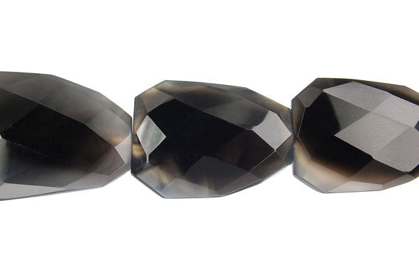 Black Onyx Faceted Slab (Partial Transparent) Beads