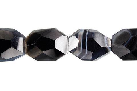 Sardonyx (Black) Super Faceted Nugget Beads