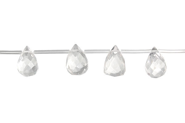 Rock Crystal Faceted Briolette (A) Beads