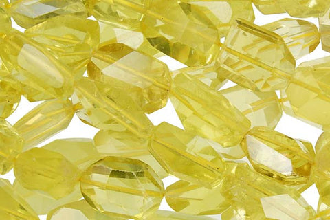 Citrine (Lemon) Super Faceted Nugget Beads
