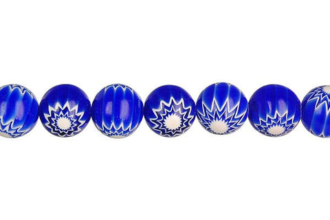 Chevron Glass Bead Round (Blue)