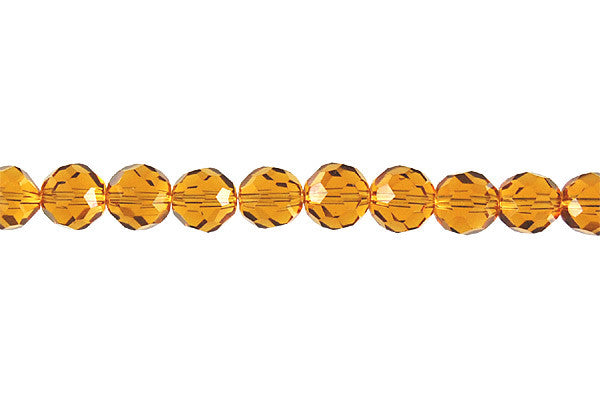 Chinese Crystal (Amber) Faceted Round