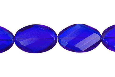 Royal Blue Quartz Twisted Faceted Flat Oval