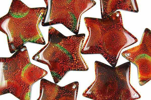 Pendant Dichroic Glass Star Copper (03)