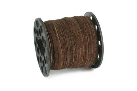 Real Suede Leather Lace, Medium Brown, 2.5mm