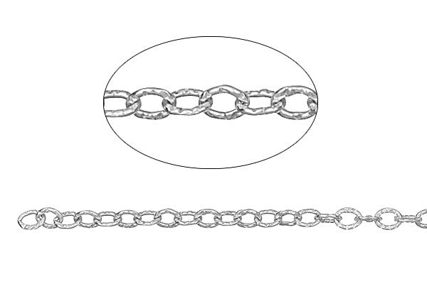 Sterling Silver Textured Cable Chain, 2.3x3.0mm