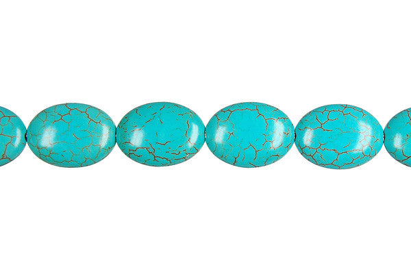Howlite (Turquoise) Flat Oval Beads