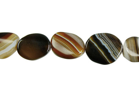 Sardonyx (Coffee) Twisted Flat Oval Beads