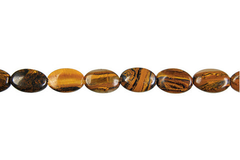 Tiger Iron (AAA) Flat Oval Beads
