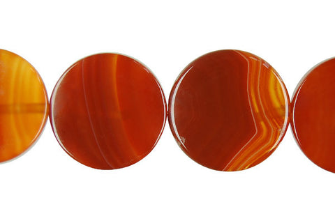 Red Agate Coin Beads