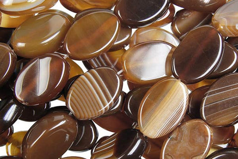 Sardonyx (Coffee) Flat Oval Beads